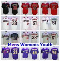Hombres Mujeres Niños Vintage Base Cool 38 Curt Schilling Jersey Retire Baseball 44 Paul Goldschmidt 51 Randy Johnson 21 Zack Greinke Hombres cosidos