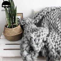 Одеяла, вязаная кореначная одеяло толстая пряжа взвешенная шерсть громоздкий вязальный бросок теплый зимний домашний диван кровать бросает одеяла1