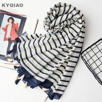 Bufandas bufandas a rayas para las mujeres otoño primavera invierno estilo japonés fresco largo palillo mantel manufactor oficina oficina1