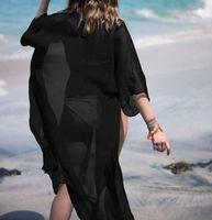 Traje de baño de las mujeres Vestido de playa Vestido de playa de color puro de verano Bikini de manga larga cubierta para arriba Kaftan Beachwear Swimwear1