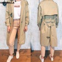 Popular design 2020 women's long trench coat vintage double breasted female windbreaker cloak outwear grey khaki coats