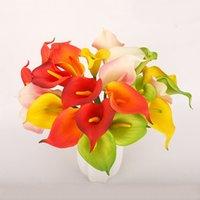 10 шт. DIY Искусственные Цветы Calla Real Touch Calla Lily с стеблями Bridal Букет Свадебные Украшения Центральныеформы Домашнее Украшение