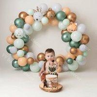 80pcs / lote Baby Shower Gold DIY Balloon Arch Kit Gris Latex 1 Suministros Fondo Cumpleaños Decoración de fiesta 20125