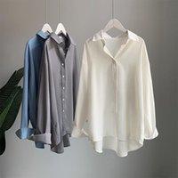 Camicette da donna Camicie Primavera Autunno 2021 Allentato Medio Lungo Camicia Bianca Retro Corsetto Corsetto Top Blusa Vintage Streetwear