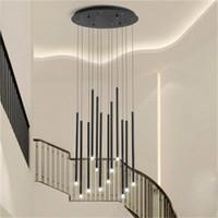 Современная лестница люстры светильника Nordic Villa живущая комната подвесные светильники вращающиеся лестничное золото / черное светодиодное освещение люстры