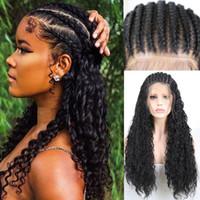 Perruques synthétiques Rongduoyi Cheveux noirs Micro tressé perruque en dentelle avant pour femme à la main Box 13 * 6