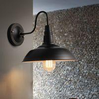 Lampe murale Vintage LED E27 EDISON LIGHT LIGHT LOGEMENT RETRO FER PEINTURE AMÉRICAIN Simplicité Simplicité Couverture en pot Noir avec Shade BDV-26