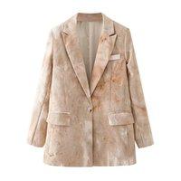 Blsqr Winter Women Tie-Dye Corduroy Blazer Cappotto vintage manica lunga a maniche lunghe tasto singolo femmina chic top