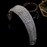 Asnora Avrupa Klasik Kübik Zirkonya Tiara Kraliyet Prenses Başlığı Gelin Tiaras ve Kron, Düğün Saç Aksesuarları Y1130