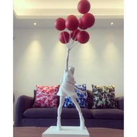 Hot Balloon Girl Statue Banksy Flying Balloons Girl Art Sculpture Resin Craft Decorazione Domestica Decorazione di Natale Regalo di Natale 57cm