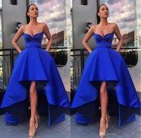 2021 Royal Blue Prom Dresses Schatz Halsausschnitt Satin High Low A Line Custom Made Evening Party Gowns Formale Anlass Tragen Vestidos