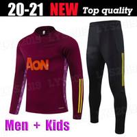 Uomini Bambini Kit 2020 2021 Jujube Red Rashford Bruno Fernandes Formazione indossare Jersey di calcio Marziale James Football Jogging Tuta 20 21