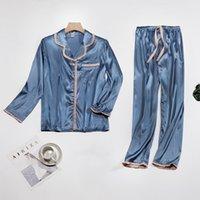 Kadın Saten Ruffles Hem Pijama Set Patchwork V Yaka Elastik Bel Kadın Pijama 2021 İlkbahar Sonbahar Yumuşak Bayanlar Homewear W1225