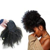 Venta caliente Pelo humano Lanja de caballo Extensiones de cola de caballo Yaki Afro Kinky Rizado Ponillo de caballo Envolver Correzo Pelo humano Negro Color Negro con clip en el pelo
