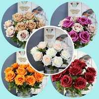6 heads Rose Silk Peony Artificial Flowers Bouquet Home Fake Flowers for Home Wedding indoor Decoration Supplies