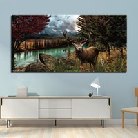 1 Panel Canvas Painting Wall Art Frame Printed Pictures Poster Lake Forest Deer Photo For Living Room Decor