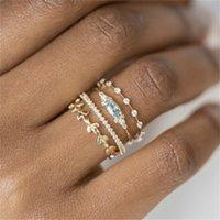 Frauen Inlay Aquamarine Strass Ringe Schmuck Dame Überzogene Gold Verlobungsring Mode Zubehör Vier Teile Anzug 4 3Qz J2