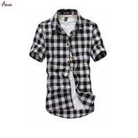 Erkek Casual Gömlek Ekose Gömlek Erkekler 2021 Yaz Moda Chemise MKass Erkek Damalı Kısa Kollu Bluz