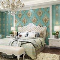 Europejski Rustykalny Tapeta Kwiatowa Tapeta Na ściany 3 D Pasek Papier Wall Roll Do Sypialni Ściany ścienne Papel de Parede Listrado