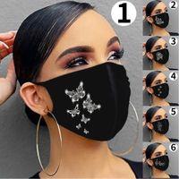 Moda brillante Rhinestone mujeres joyería mascarilla elástica mágica bufandas reutilizables lavables de moda mascarillas de cara de bandana máscaras con máscaras.