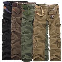 Erkek Askeri Kargo Pantolon Çoklu cepleri Baggy Erkekler Pamuk Pantolon Günlük tulumları Ordu Taktik Pantolon hiçbir kemerleri Artı boyutu 46 X1116