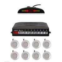 Cámaras de vista trasera Cámaras Sensores de estacionamiento Sistema de radar inversa con detección de 8 distancias + ADVERTENCIA DE PANTALLA LED (color plateado)