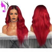 أزياء اثنين لهجة محاكاة الإنسان شعر الإنسان الباروكة موجة الجسم الباروكات مع الجزء الأوسط أومبير أحمر اللون الرباط الجبهة الاصطناعية للنساء السود
