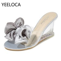 Yeeloca Womens High Tacchi alti Summer Wild Women's Sandals Simple Bow-nodo a cuneo Pantofole trasparenti Scarpe di lusso Donne Designer Y200628
