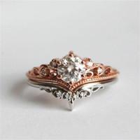 Anelli a cluster 14k oro rosa corona corona anello diamante set di fidanzamento anillos peridot wed bizuteria per le donne topazio 925 gioielli preziosa preziosa