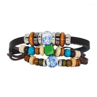 Nouveau bracelet rétro original Evil yeux bracelet cire corde de cire perles en bois cire corde yeux turc bracelets chaudes1