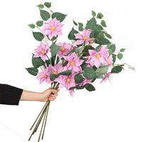 """Clematis de escalada falsa (3 cabezas / pieza) 29.53 """"Legation Simulation Lotus Flower para la boda Casa Decorativo Flores Artificiales"""