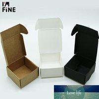 20 tamaños Caja pequeña de papel Kraft, cartón marrón hecho a mano marrón, artesanía regalo de papel blanco Joyas de joyería BLAC