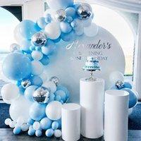 Mavi Gümüş Macaron Metal Balon Garland Arch Mutlu Doğum Günü Partisi Dekorasyon Çocuklar Düğün Doğum Günü Balon Bebek Duş Erkek Kız T200624