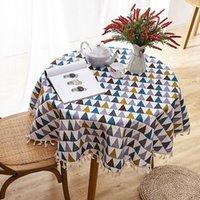 Mantela redonda de algodón de poliéster engrosada Mantela de impresión de moda Cubierta cubierta de mantel con flecos Tapa de mesa para casa T200707