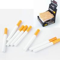 담배 모양 흡연 파이프 세라믹 담배 히터 파이프 노란색 필터 color100pcs / 상자 78mm 55mm 하나의 타자 박쥐 금속 흡연