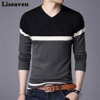 Liseaven Homens Pullover Sweater v Neck Casual Slim Fit Suéter Manga Longa Pulôver Tops 201017