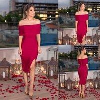 Fuchsia Mãe barato dos vestidos de noiva Bateau alta-split curto Partido cetim vestido de manga Ruched Joelho de comprimento elegante vestido de baile Visitante
