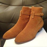 Vendita calda in alto in pelle scamosciata in pelle scamosciata Harry Wyatt Charm Boots Wedge SLP Fashion Men Classic Black Rosso Brown Strap Denim Stivali Denim