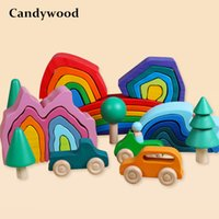 아기 장난감 나무 블록 레인보우 스태커 장난감 어린이 크리 에이 티브 무지개 빌딩 블록 어린이위한 교육 완구 Q1126