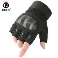 Jiusuyi militar lenvas de dedos táticas exército combate força airsoft paintball ao ar livre hard knuckle meia luva homens mulheres lj201215
