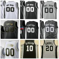 Özel Baskılı Tony 9 Parker Manu 20 Ginobili David 50 Robinson 45 Tyler Zeller San Antonio Spurs Erkek Kadın Çocuklar Basketbol Formaları