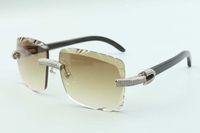 2021 عدسة عدسة مايكرو المعبدة الماس النظارات الشمسية 3524020، الطبيعية بوسالو بوفالو قرون المعابد النظارات، الحجم: 58-18-140mm