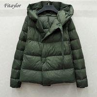 Fitaylor novo inverno 90% ultra luz branca pato jaqueta mulheres curta casaco com capuz parkas morno quente neve outwear