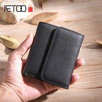 Aetoo мужская кожаный короткий кошелек, повседневная пряжка вертикальный кошелек, кошелек большой емкости, карточный пакет All-in-One