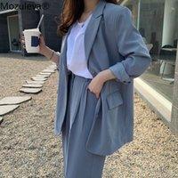 Mozuleva coreano Duas mulheres roupas Único casaco de manga comprida de manga comprida + cintura alta calças de pernas largas ternos 2 peças