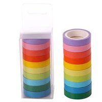 10 teile / Box Regenbogen einfarbig Masking Washi klebrige Papierbänder Klebstoffdrucken DIY Scrapbooking Deco Wawis 2016 Band