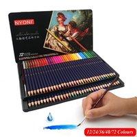 Huiqin 12/24/36/48/72 Профессиональные акварельные цветные карандаши окраски де-окраски для цветных рисунок карандаш набор художественных принадлежностей Y200709