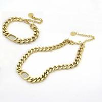 Avrupa Amerika Basit Stil Takı Setleri Kadın Lady Titanyum Çelik D harfi ile 18 K altın kalın zincir kolye bilezikler 1 takım 3 renk