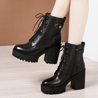 Frauen stiefel winter schnee booties schwarz steigern 8 cm 10 cm dicke ferse womens boot lederschuhe größe 35-40
