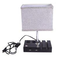 Автомобильные чехлы 1 шт. Квадратная ткань оттенок тумбочка ночной светильник USB зарядки минималистский светодиодный настольный лампа для спальни гостиной дома (US Plug) 1